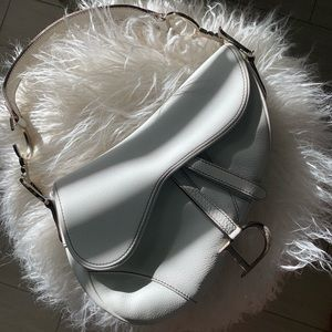 Dior White Leather Saddle Bag🛍